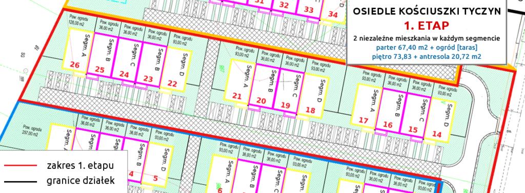 1 etap - osiedle kosciuszki tyczyn nowe szeregowki mieszkania