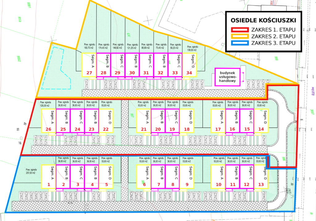 Osiedle Kościuszki Tyczyn szeregówki etapy realizacji - mapa plan terenu